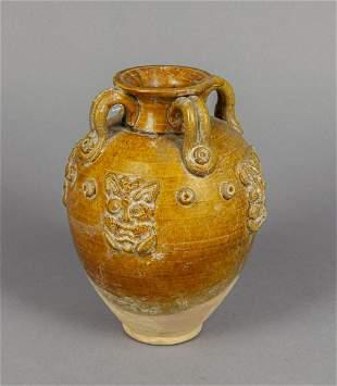 Chinese Yellow Glazed Pottery Decor Vase