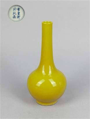 Chinese Yellow Glazed Porcelain Cabinet Vase