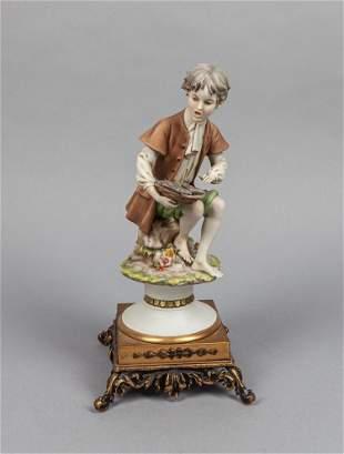 Italy Porcelain & Bronze Table Sculpture