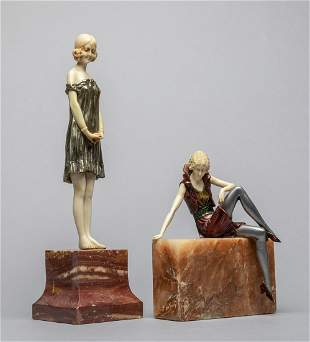 Set Table Sculpture of Girls on Marble