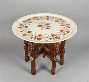 Collectible Asian Marble Central Piece Inlaid MOP