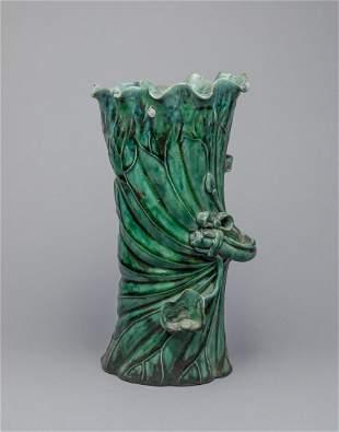 Chinese Turquoise Glazed Porcelain Lotus Decor Vase