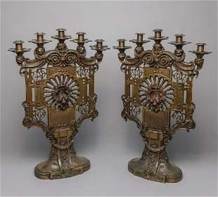 Pair Art Deco Brass Candle Sticks