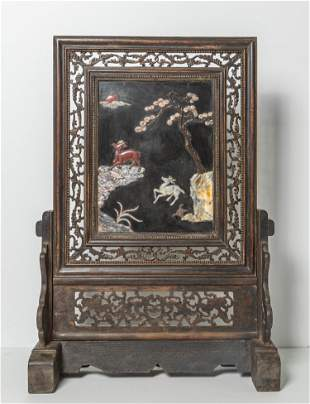 Chinese Wood Table Screen Inlaid Gem Stone