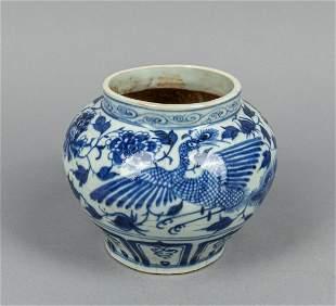 Chinese Blue White Porcelain Lamp Jar