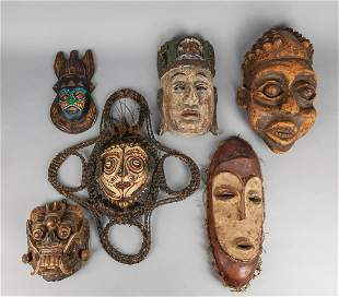 Collection of Old Wall Hanging Wood Masks