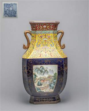 Large Chinese Enameled Porcelain Decor Vase