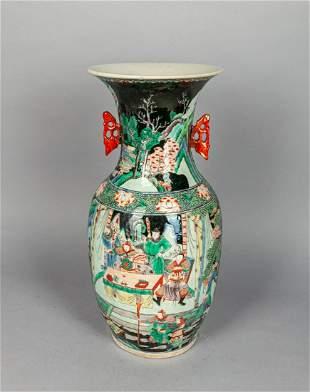 Tall Chinese Wucai Porcelain Vase