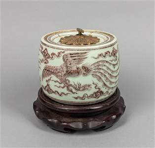 Designed Chinese Copper Red Porcelain Music Box