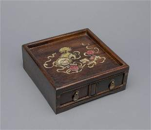 Chinese Rose Wood Box Inlaid Mother of Pearl
