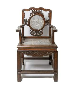 Chinese Wood Armchair Inlaid Marble