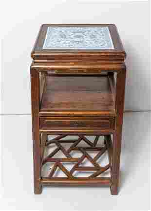 Chinese Old Wood Tall Table Inlaid Porcelain Plaque