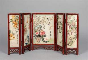 Chinese Wood Marble Folding Table Screen
