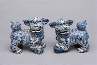 Pairs Chinese Blue White Porcelain Paper Weights
