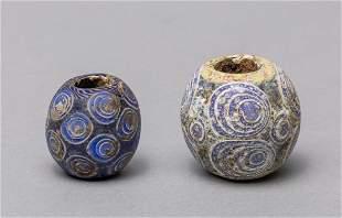 Set Ancient Roman Type Dragon Fly Eye Glass Beads