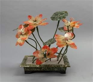 Chinese Jade Stone Decorated Bonsai