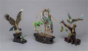 Set Large Chinese Cloisonne Table Sculpture of Birds