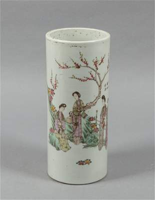 Chinese Old Famille Rose Porcelain Lamp Vase