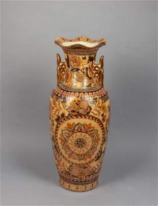 Tall Japanese Taisho Enameled Porcelain Decor Vase