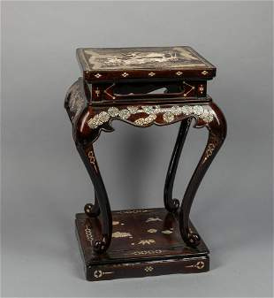 Chinese Lacquer-wood Stand Inlaid MOP