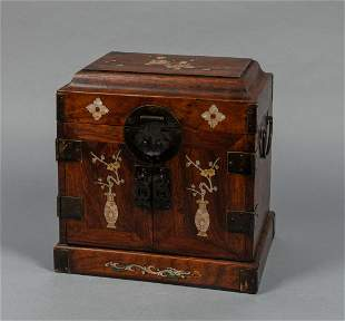 Chinese Wood Jewelry Box Inlaid with Mother of Pearl