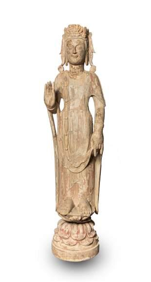 Tall Chinese North Qi Type Stone Buddha
