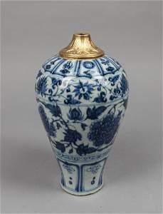 Chinese Blue & White Porcelain Lotus Vase