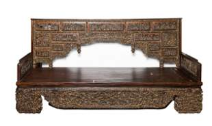 Antique Chinese Carved Wood Daybed