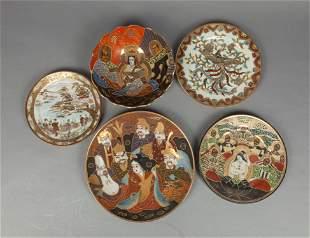 Set Collectible Japanese Taisho Enameled Porcelains