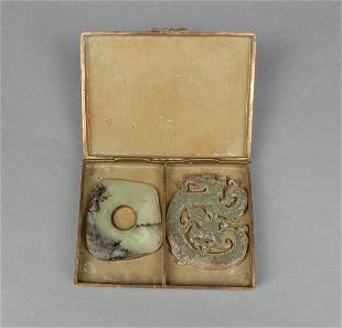 Chinese Jade Carvings with Cloisonne Box