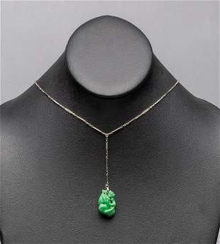 Chinese Jade Jadeite Toggle With 18k Necklace