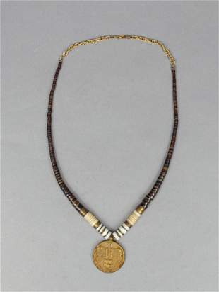 Designed Osterreich Coin Necklace w/ Heishi Shell