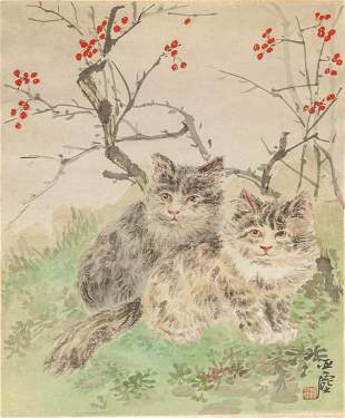 Chinese Water Color Painting of Cats
