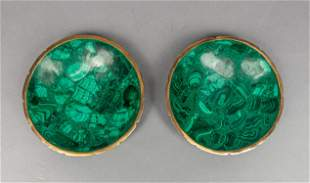 Pair Large Malachite Nuts Dishes