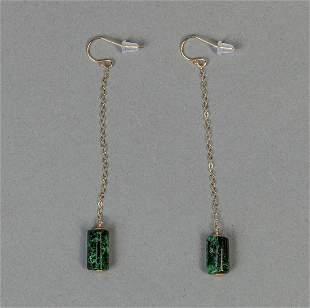 Pair 14 K Chinese Jade Jadeite Earrings