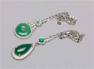 Set Designed Marked 925 Silver & Agate Necklace Pendant