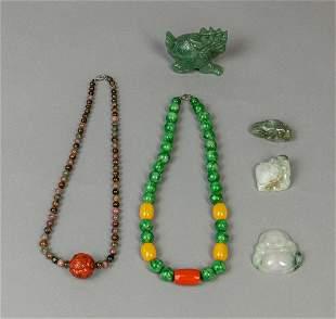 Set Estate Chinese Jade/Gem Stone Jewelries