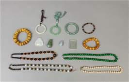 Set Estate Chinese Amber Jade/Stone Jewelry