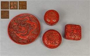 Set Chinese Cinnabar Plate & Boxes