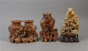 Set Chinese Carved Stone Table Sculptures