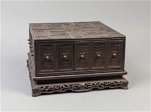 Chinese Carved Wood Jewelry Box