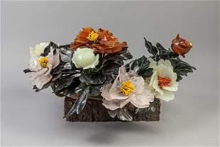 Chinese Export Jade Agate Bonsai