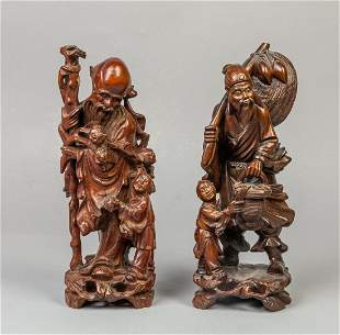 Set Chinese Carved Wood Table Sculptures