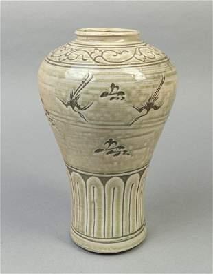 Korean Celadon Glazed Porcelain Cabinet Vase