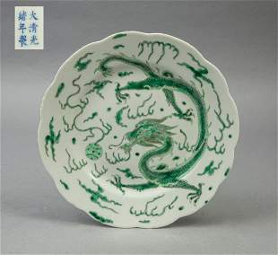 Chinese Green Dragon Porcelain Plate