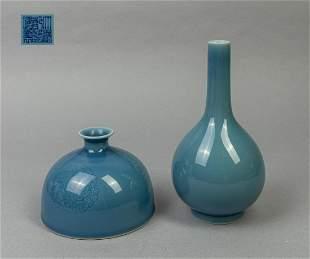 Set Chinese Blue Glazed Porcelain Wares