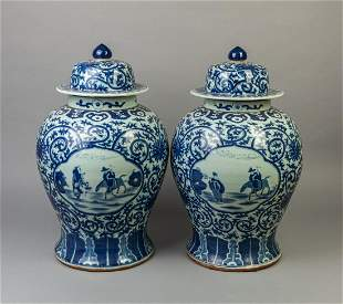 Pair Large Chinese Blue White Covered Jars