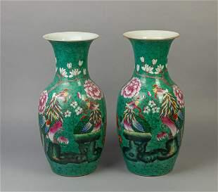 Pair Chinese Old Famille Rose Porcelain Vase