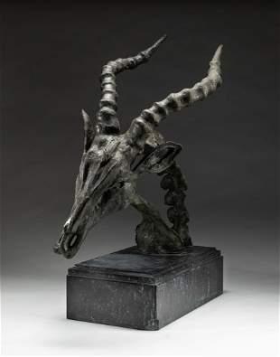 Large Bronze Sculpture of Goat Head