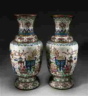 Pair Massive Chinese Old Cloisonne Vases